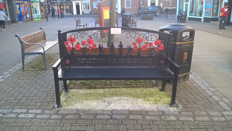 rememberance bench in poulton le fylde